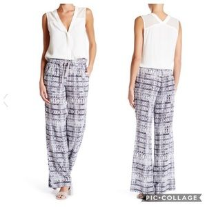 Joie Aryn 100% Silk Wide Leg Pants Ikat Gray XS